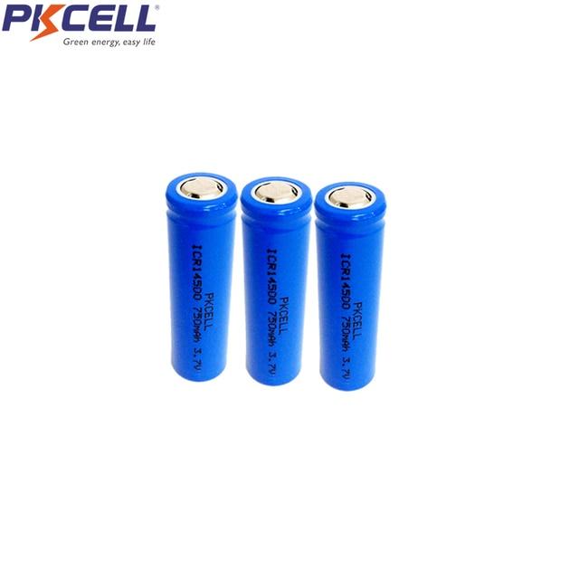 3 piezas AA batería recargable Liion 3,7 V ICR14500 Li-ion baterías de litio 14*35mm para linterna LED faros mecánica mod