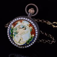 Fob Pocket Watches Woman Fashion Mechanical Watch Roman Numbers Dials Classic Bronze Brass Case w/Chain Beautiful Rhinestone