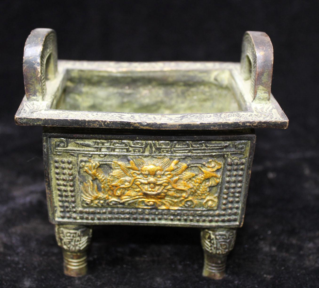 China Palace Bronze gilt Dragon Beast Head Foot Handle Ding Incense Burner