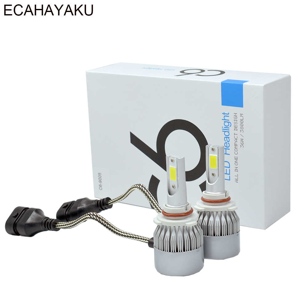 2pcs All In One C6 Car Led Headlight H1 H3 H7 H11 H4 H13 9004 HB3 9006 9007 880 72w 7600lm Per Pair 6000K LED Car Bulbs Headlamp