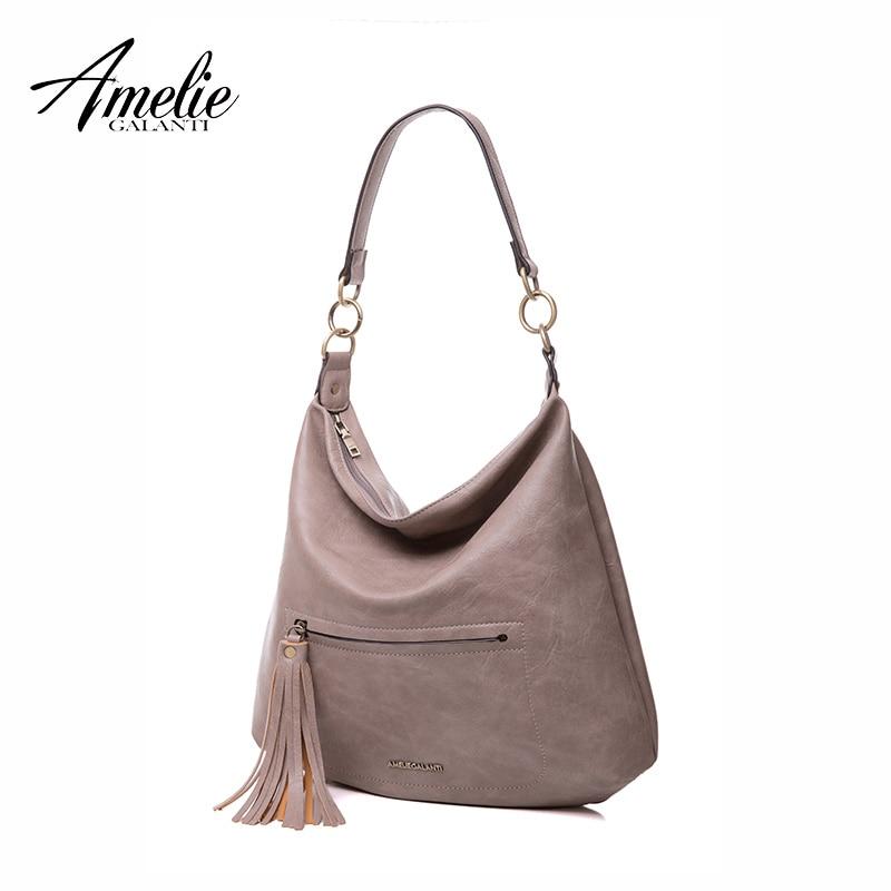 цена AMELIE GALANTI 2017 women shoulder bags half moon tassel high quality PU slit pocket versatile soft zipper famous brand онлайн в 2017 году