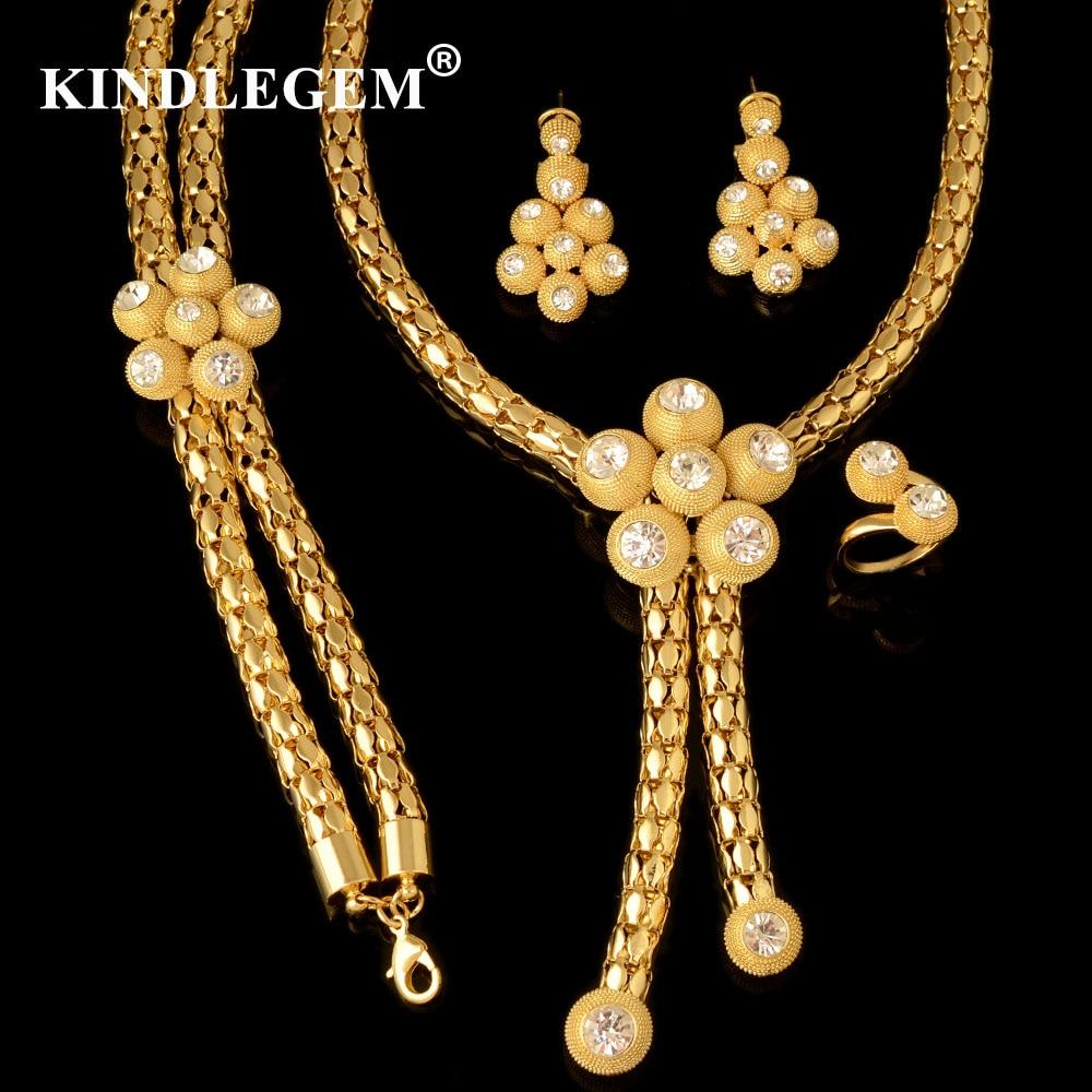 4637e0770b5c Kindlegem Luxus Afrikanische Perlen Schmuck Sets Kristall Hohe Qualität  Dubai Gold Farbe Bijoux Für Frauen Große Halskette Zubehör