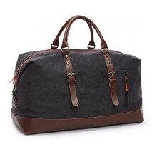 Купить с кэшбэком Men handbag Large capacity Travel Bags Canvas Leather Carry on Luggage Duffel Bags fashion shoulder Designer Messenger Baggage