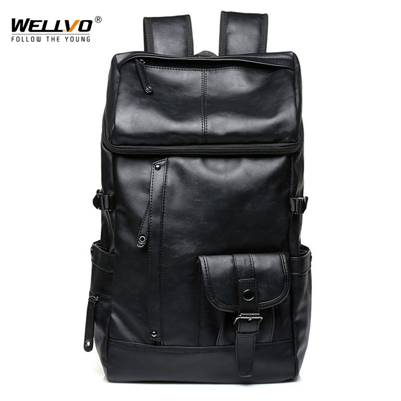 Wellvo Men PU Fashion Leather Backpack Teenager Backpacks Korean Japan Style School Laptop Bags Women Shoulder Relaxation XA83WC