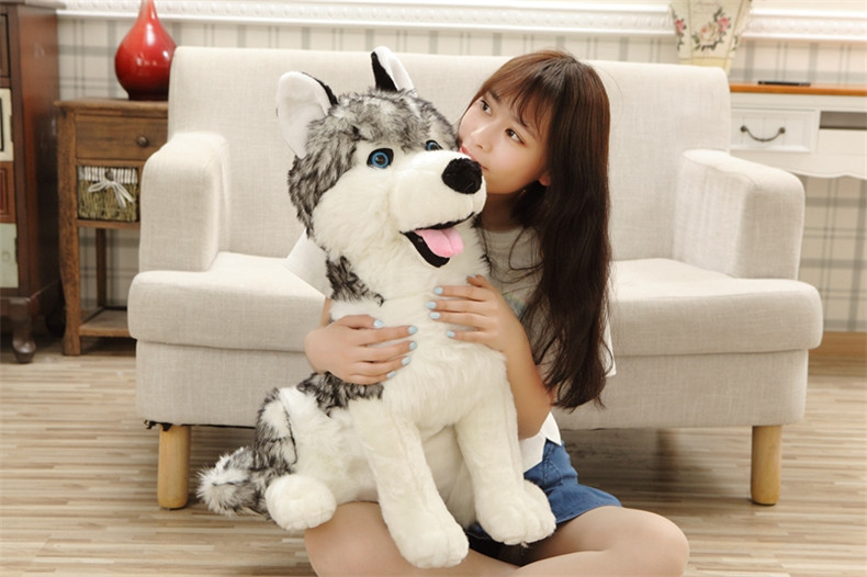 simulation animal large 70cm squatting dark gray husky dog plush toy, Christmas gift h2990