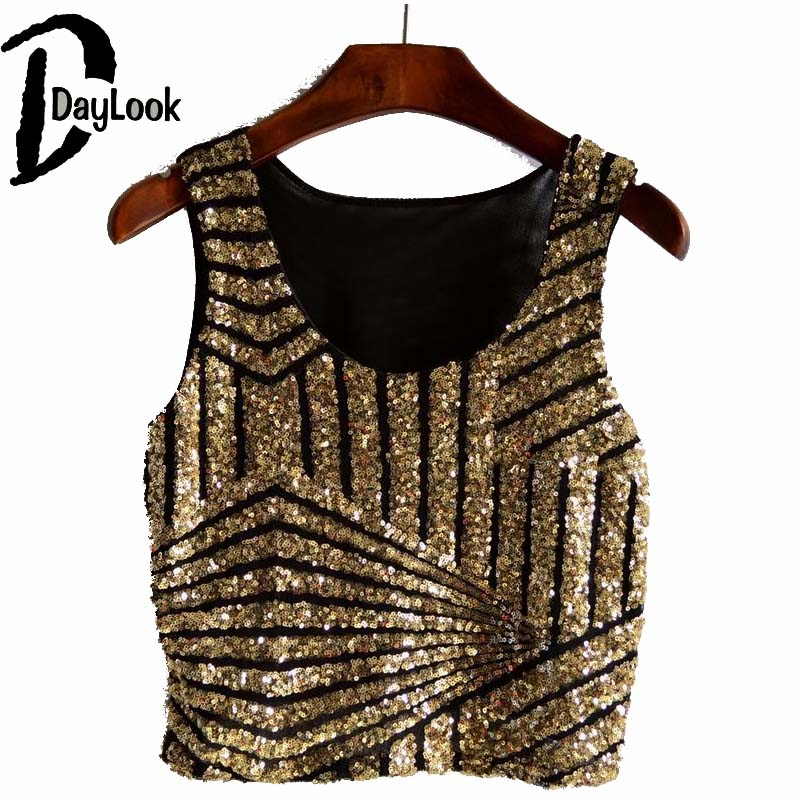 DayLook Summer Chic Glitter Crop Top Striped Print Sequin Tank Top Party Vest Bling Bling Short