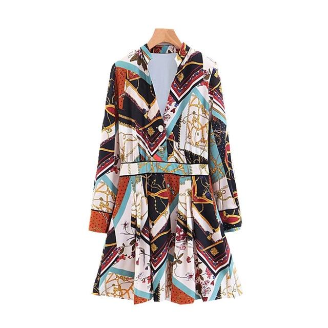 Women Chain Print Patchwork Mini Dress V Neck Button Design Pleated Dress Ladies Elegant Christmas Femme Chic Vestidos