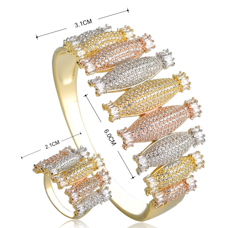 Dazz Luxury Three Tones Colors Bowling Shape Bangle Ring Set Rhinestones Wide Copper Jewelry Sets For Women Wedding Party Bijoux-in Jewelry Sets from Jewelry & Accessories    2