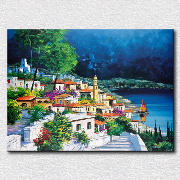 Clean City Picture Oil Painting Home Decoration Wall Art High Quality Reproduction Canvas Pictures Gift For