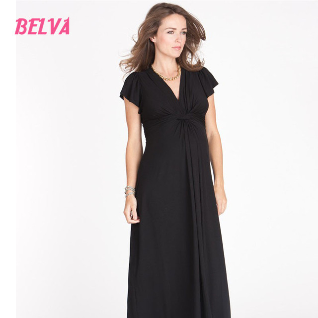 Belva Long Maternity Dress Ruffles Sleeves Evening Black Dresses