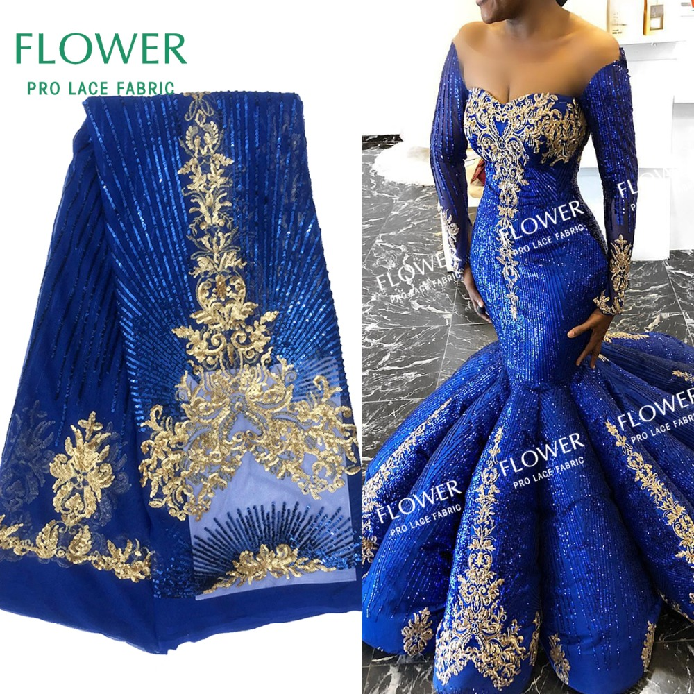 Royal Blue Upscale Style Sequins Lace Fabric Sequined Embroidered Guipure Net Lace African Wedding Dresses Sewing