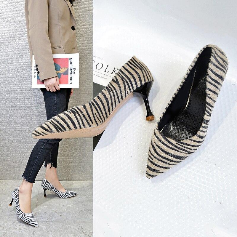 La MaxPa Woman 7 CM Ultra High Heels Shoes Plus Size 34 - 39 Party Wedding Pumps Zebra Stripe Pointed Toe Sexy Pumps 2019 Ladies 1