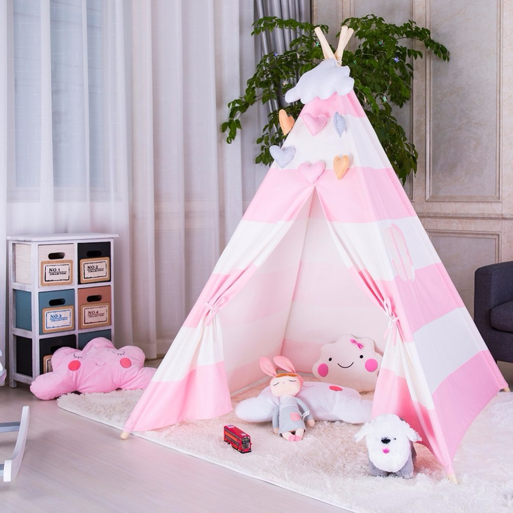 Cloth Wooden Poles Kids Teepee Tent Childrens Playhouse Tent Tipi Kids шляпа canoe canoe mp002xw145jb