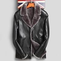 Двойной уход за кожей лица Натуральный Дубленки пальто для будущих мам верхняя одежда для мужчин отложной воротник из овечьего меха куртк