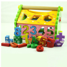 Educational wooden toys digital dismantling houses cognitive matching wisdom building blocks сумка wooden houses w302 2014