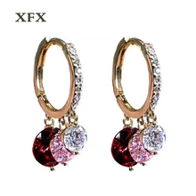 aaef19f88132 El nuevo caliente S925 agujas Tremella oro círculo oído hebilla rojo zircon  simple moda jewelryu popular pendientes femeninos