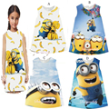 2017 Baby Girls Dress Minions Cotton O-neck Pink Children Costume Dresses Printed Cute Sleeveless Cartoon Dresses For Girls 2-8Y