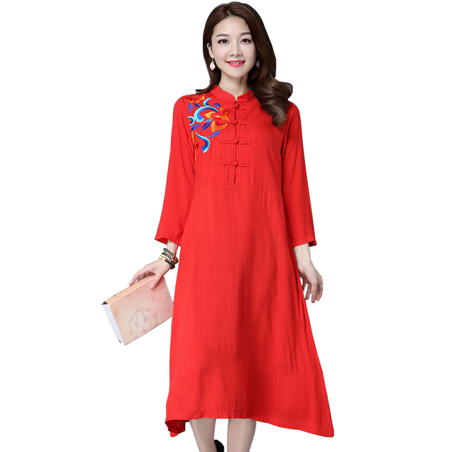 3cd8c61bbd2 Chinese Design Trendy Simple Vintage Embroidery shirt Dress Retro Long  Sleeves Skinny Party Vestido Autumn Dress Women  YG1901