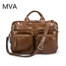 MVA Genuine Leather Men Bag Men's Briefcases 14inch Leather Laptop Bag Business Male Men Travel Tote Crossbody Bags
