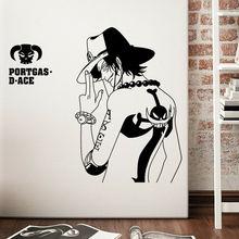 Cartoon Vinyl Muurtattoo Ontwerp Stickers Decoratie Anime Pirate King Knappe Karakter Muurstickers Jongen Kamer Decoratie HZW11