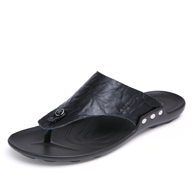 2b155368a03a Luxury Brand 2018 New Men s Flip Flops Quality Leather Slippers Summer  Fashion Beach Sandals Shoes For Men Big Size