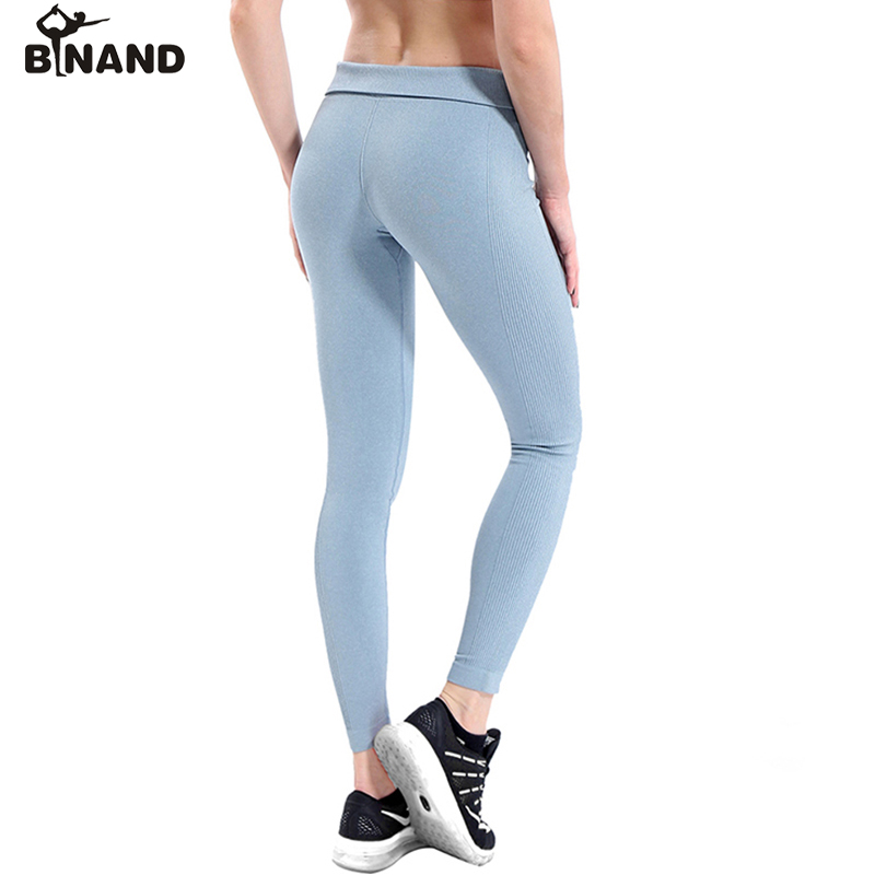 BINAND Women Solid Color Seamless High Elastic Tight Yoga Pants Compression Running Gym Fitness Workout Leggings Sports Trousers slim tight sportswear women workout out pocket leggings fitness sports gym running yoga athletic pants elasticized waistband