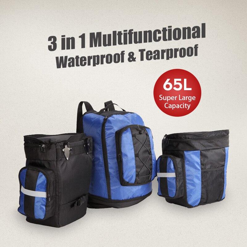 3 en 1 étanche bagage sacoche vélo sacoche sac de transport de vélo sac de coffre de vélo avec housse de pluie 65L YX1303