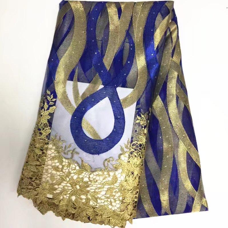 Francouzské vyšívané modré tyl krajky tkanina africké - Umění, řemesla a šití