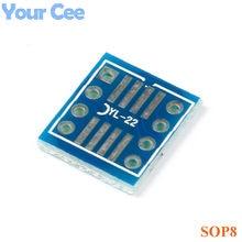Adaptateur SOP8 SO8 SOP8 à DIP8, 20 pièces, carte de conversion, DIP, mop8 SOIC8 tsop8 SSOP8 SOP tournant, prise DIP