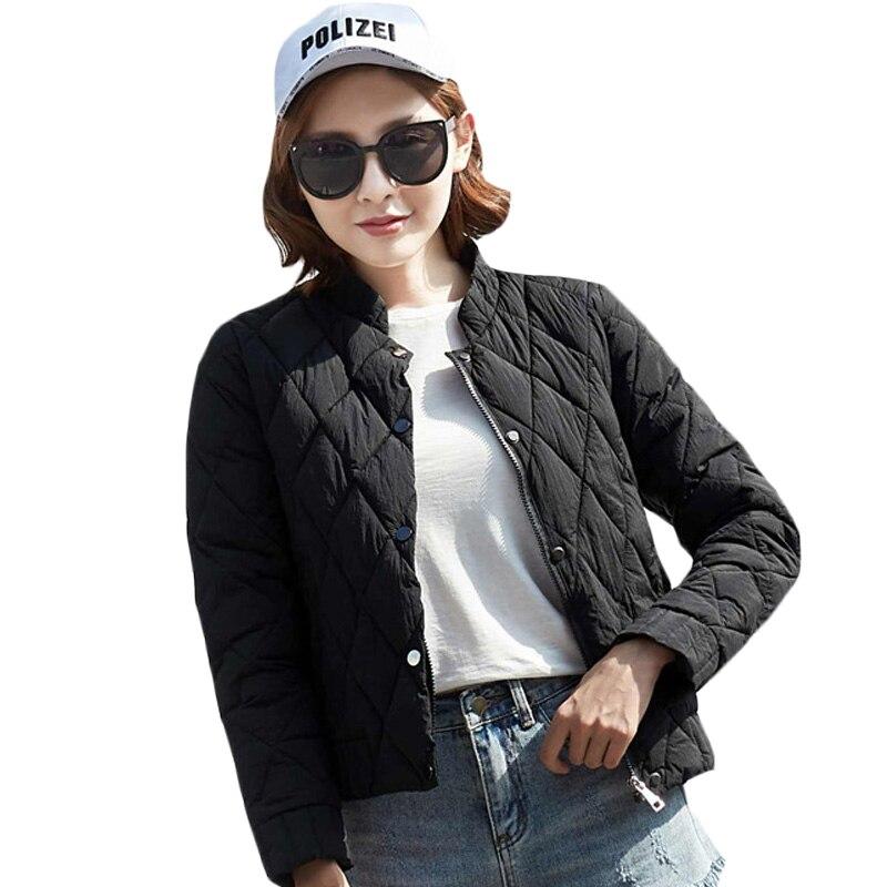 купить Women's New Quilted Jacket Female Short Thin Cotton Padded Overcoat 2017 Autumn Winter Short Slim Wadded Jacket Outerwear XH877 дешево