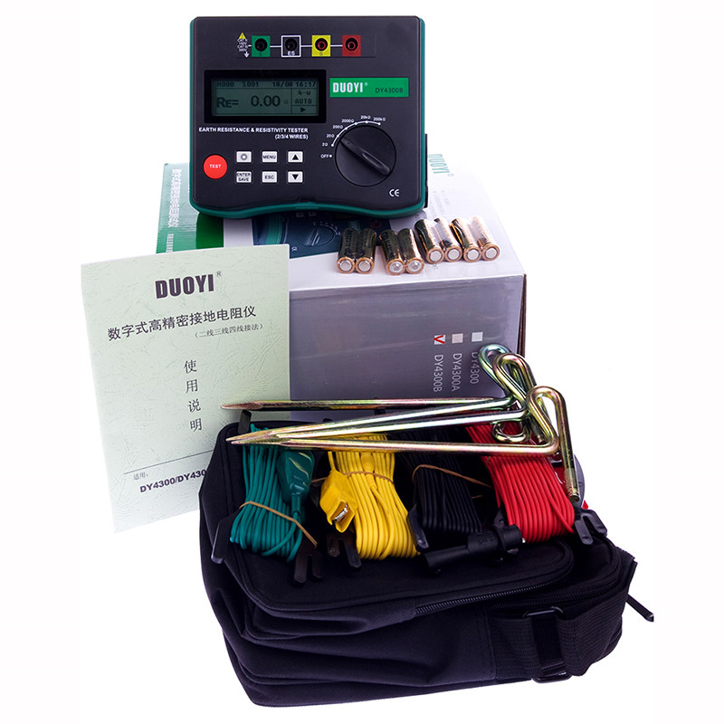 DY4300B Ground Resistance Tester 4 Terminal Earth Ground Resistance and Soil Resistivity Tester