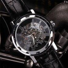 GEMIXI NUEVO reloj mecánico Clásico de Los Hombres de Cuero Negro Dial Mecánico Esquelético Del Ejército Deportivo Reloj de pulsera Envío de La Gota