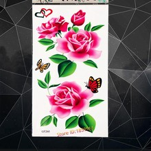 62c1903f7 Large Green Leaf Peony Flower Temporary Tattoo Butterfly Fake Flash Tattoo  Stickers 17*10CM Women Henna Body Art Tatoo Arm Chest
