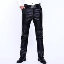 Мужские брюки из искусственной кожи с подкладкой из плотного флиса, зимние теплые свободные ветрозащитные водонепроницаемые штаны для мотоцикла размера плюс, повседневные брюки из искусственной кожи