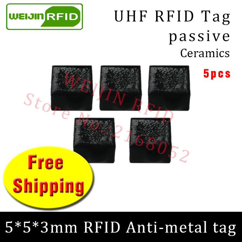 UHF RFID metal tag 915mhz 868mhz Alien Higgs3 EPC 5pcs free shipping 5*5*3mm very small square Ceramics smart passive RFID tags 2016 trays management anti metal epc gen2 alien h3 uhf rfid tag 50pcs lot