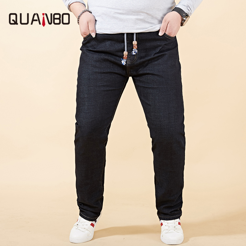 Fat Big Plus Size Mens Jeans 42 44 46 48 2019 New Stretch Elastic Waist  Men Distressed Jeans Casual Loose Denim Trousers Black