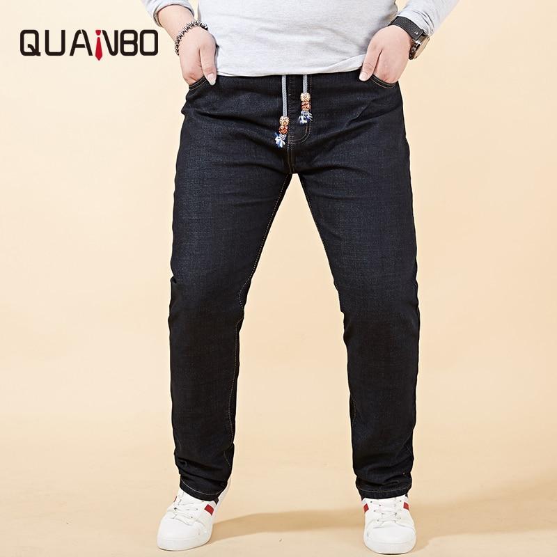 Fat Big Plus Size Mens Jeans 42 44 46 48 2019 New Stretch Elastic Waist  Men Distressed Jeans Casual Loose Denim Trousers Black