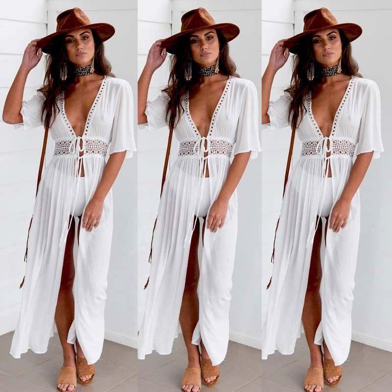 763848edd6147 Women Deep V-Neck Hollow Out Beachwear Long Kaftan Lace Up dress Summer  Boho Maxi Dress Swimwear Sundress