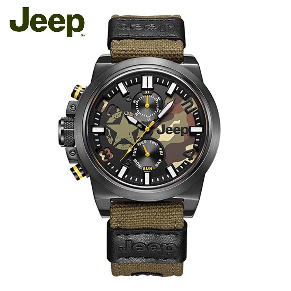 Jeep Original Mens relojes de cuarzo correa de lona militar camuflaje Acero inoxidable 50 m impermeable deporte relojes de lujo JPW63803