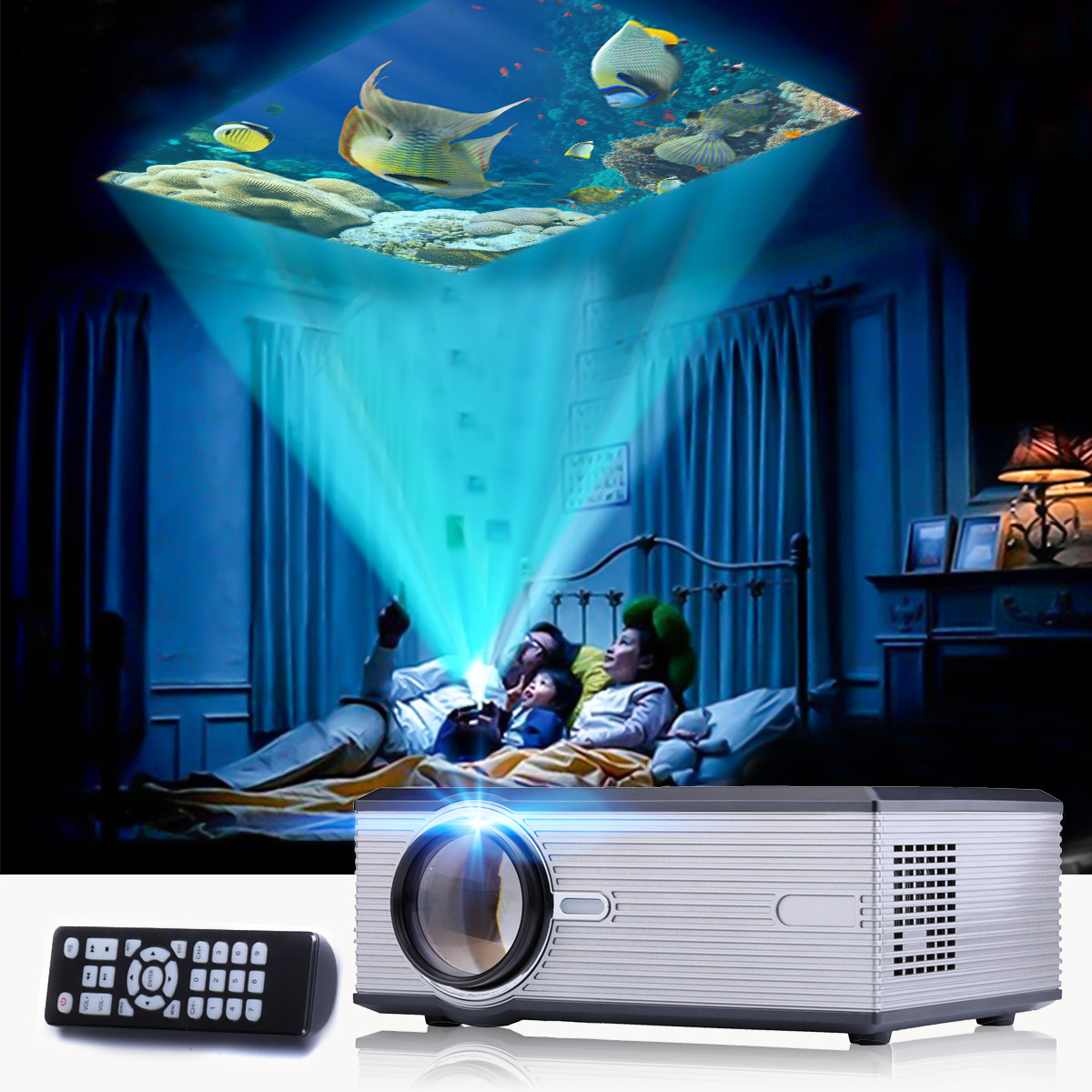 Sliver 1080P LED Video Projector for Home Theater7000Lumens Full HD Mini projector HDMI/USB/SD/AV/VGA HOME CINEMA poner saund dlp100w pocket hd portable dlp projector micro wireless multi screen mini led battery hdmi usb portable home cinema