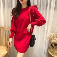 c5909afef13 Ropa Mujer Invierno 2018 Sweater Dress Christmas Women Korean Vestido Curto  Ruffle Jumper Knit Autumn Long Sleeve Negro Elegant
