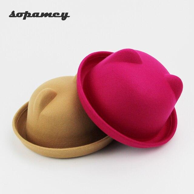 43290d8c5f9 Fashion Little Girls Fedora Hat Dome Cap Children Dress Hats Kids Caps Felt  Hats Wool Felting Bowler Hat Wholesale and retail