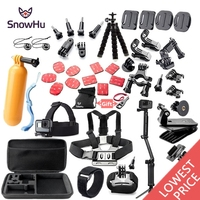 SnowHu For Gopro accessories set mount tripod for go pro hero 7 6 5 4 3 sjcam sj4000 for xiomi kit for xiaomi yi 4K+ camera GS52