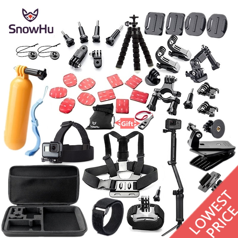 SnowHu For Gopro accessories set mount tripod for go pro hero 7 6 5 4 3 sjcam sj4000 for xiomi kit for xiaomi yi 4K+ camera GS52 for go pro cnc aluminum alloy tripod mount base tripod adapter for gopro hero 5 4 3 3 2 1 sj4000 for xiaomi yi sports camera