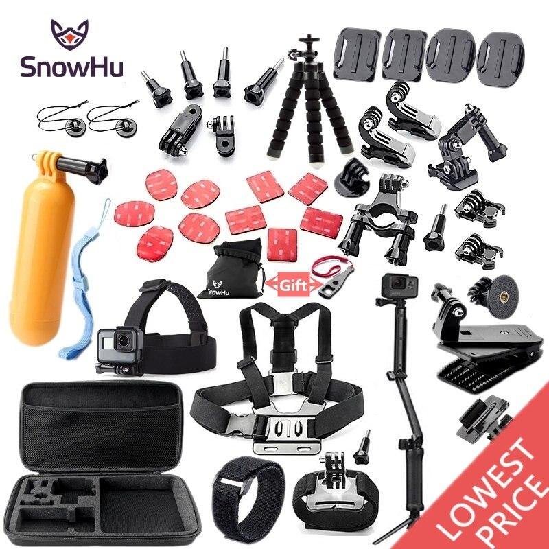 SnowHu Per Gopro accessori set di montaggio treppiede per go pro hero 7 6 5 4 3 sjcam sj4000 per xiomi kit per xiaomi yi 4 K + macchina fotografica GS52