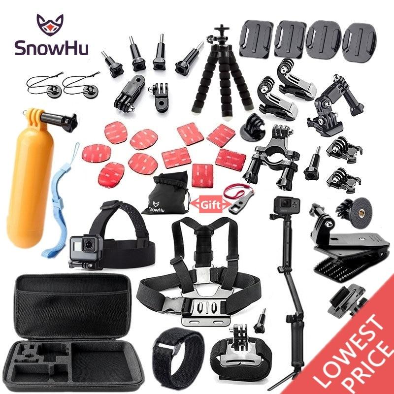 SnowHu para Gopro accesorios montaje trípode para go pro hero 7 6 5 4 3 sjcam sj4000 para xiomi kit para xiaomi yi 4 K + Cámara GS52