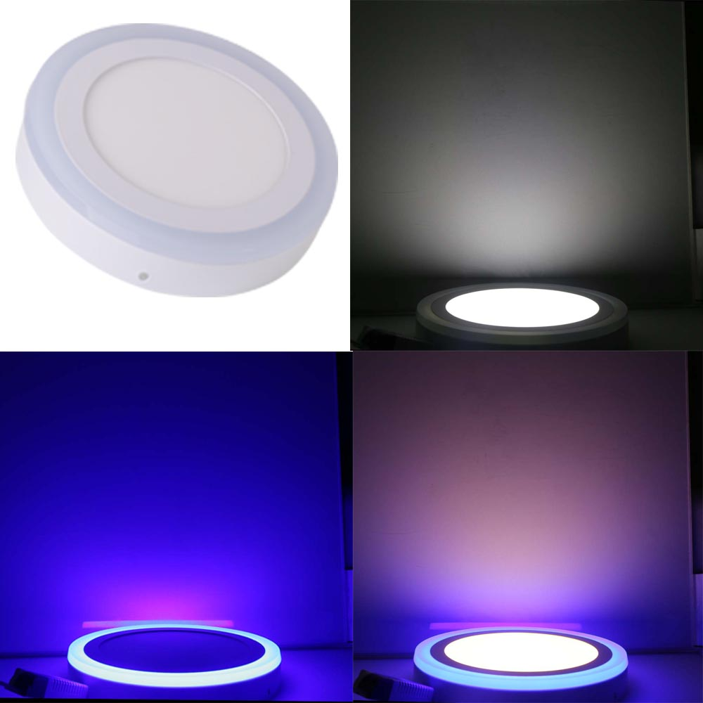 LED Double Color Panel Light 9W/16W/24W Round/Square Surface Mounted Downlight lighting Led ceiling down AC85-265V Free ShippingLED Double Color Panel Light 9W/16W/24W Round/Square Surface Mounted Downlight lighting Led ceiling down AC85-265V Free Shipping
