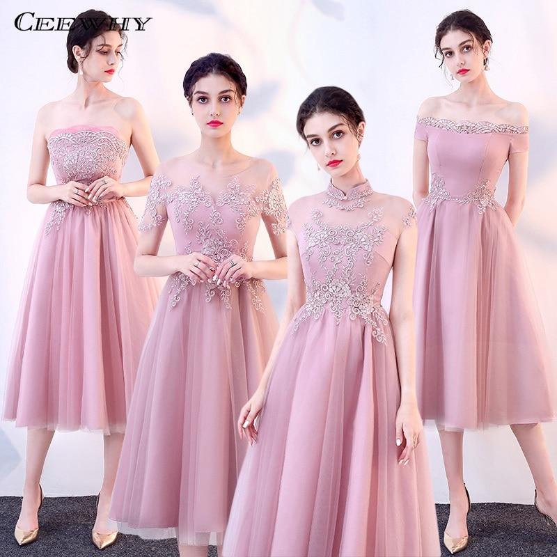 CEEWHY Short Bridesmaid Dresses Embroidery Formal Dress Women Elegant Wedding Party Dress Vestido Longo Vestido Dama De Honor