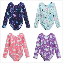 Gymnastics Leotards for Girls Long Sleeve Dancewear Cute Unicorn Sparkle Kids Gmynastic Costumes Professional Dance Clothes
