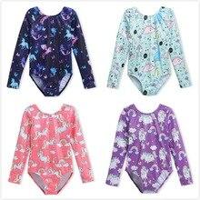 Gymnastiek Maillots voor Meisjes Lange Mouw Dancewear Leuke Eenhoorn Sparkle Kids Gmynastic Kostuums Professionele Dans Kleding